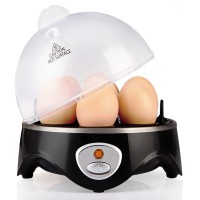 UROPHYLLA Rapid Egg Cooker, Electric Egg Boiler, Noise-Free Hard Boiled Egg Cooker with Auto Shut Off & 7-Capacity, Suitable for Poached Egg, Scrambled Eggs, Omelets - Black